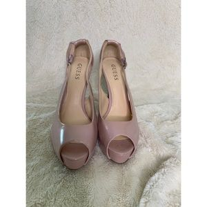 Guess patent leather peep toes